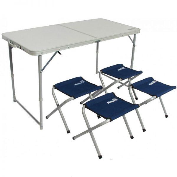 Набор складной мебели HELIOS (стол+4 табурета)-Сталь