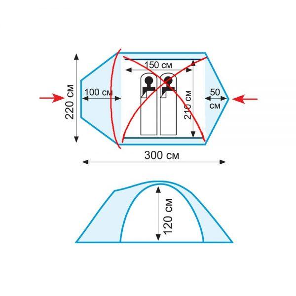 Двухместная палатка MOUNTAIN 2+ v.2 TRAMP