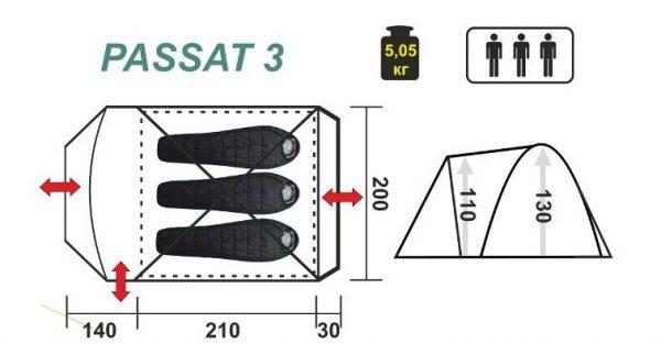 Трехместная палатка PASSAT-3 HELIOS