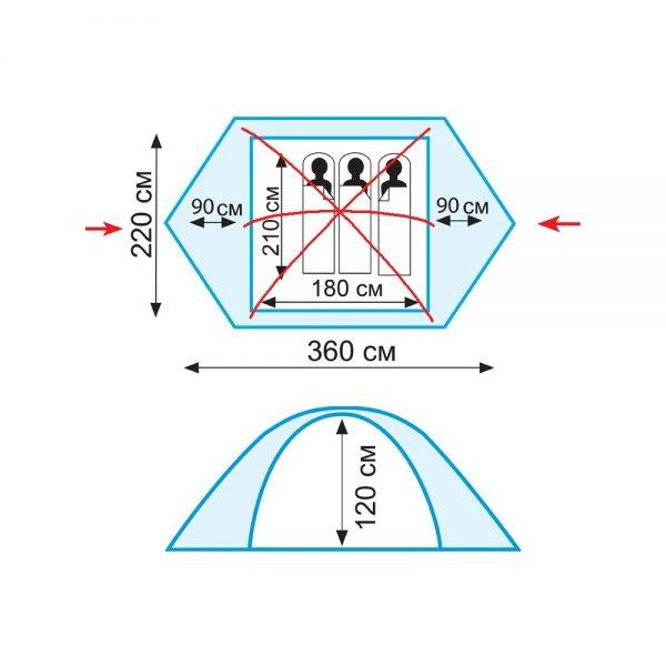Трехместная палатка PEAK 3 v.2 TRAMP