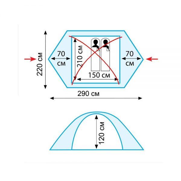 Двухместная палатка SCOUT 2 v.2 TRAMP