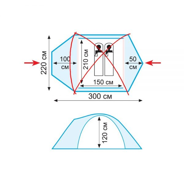 Двухместная палатка SPACE 2 v.2 TRAMP