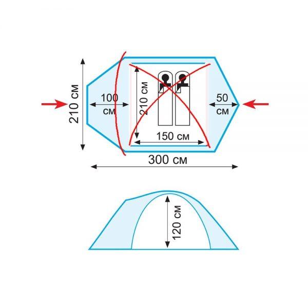 Двухместная палатка STALKER 2 v.2 TRAMP