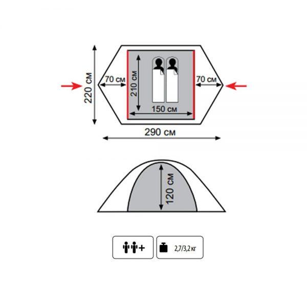 Двухместная палатка WONDER 2 TRAMP-Lite