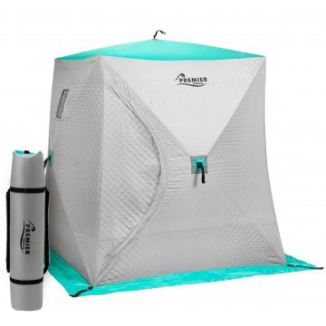 Палатка зимняя Куб Комфорт утепл. 1,8х1,8 biruza/gray PREMIER